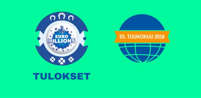Tiistai Euromillions Rivi 3nd of Toukokuu 2016